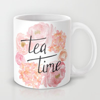 Tea time, floral wreath, hand lettered Mug by BlursbyaiShop