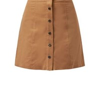 Camel Button Front Cord Mini Skirt