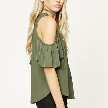 Open-Shoulder Ruffle Top