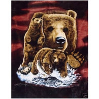 "Royal Plush Extra Heavy Queen Size Mink Blanket -Brown Bears on the Hunt (79"" x 85"")"