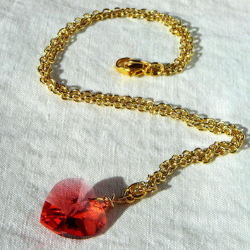Gold Necklace with Swarovski Crystal Heart in Coral Red Pink Color. Orange. Heart Necklace. Crystal Jewelry. Love. Anniversary Gift