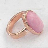 14k rose pink gold over silver pink opal ring - instock and ready to ship now - October birthstone | chadasoph - Jewelry on ArtFire