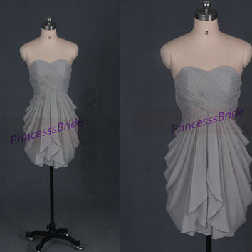 Short gray chiffon bridesmaid dresses,2014 cute sweetheart bridesmaid gowns,simple dress for wedding party,homecoming dresses.