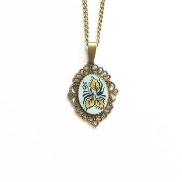 Hand painted Pendant Lorencia. pale blue golden leaves  flowers vintage style gift for her