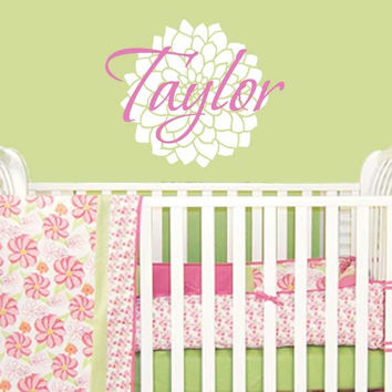 Girls Name Decal - Personalized Name Wall Decal With Flower For Baby Girl Nursery Girls Room Or Teen Bedroom Vinyl Wall Art 18Hx22W GN065