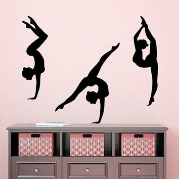 3 Girls Sport Wall Decal Gymnast Sticker Gym Vinyl Decals Sport Art Mural Living Room Decor Interior Design Girls Bedroom Decor KY144