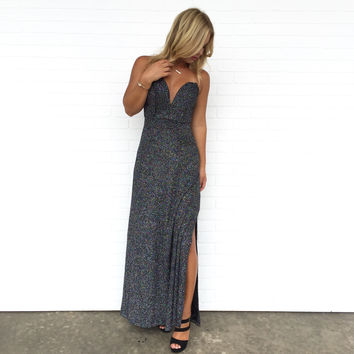 Meteor Shower Maxi Dress In Charcoal