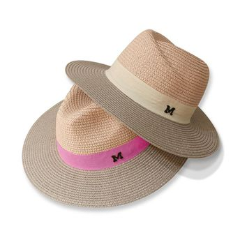 ping Hot sale summer sun hats for women M letter wide brim ladies straw hat beach vacation girls panama hat