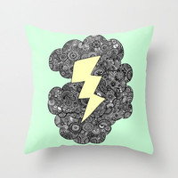Mint Storm Clouds Throw Pillow - Double Sided Throw Pillow - Faux Down Insert - Illustrated Pillow Cover