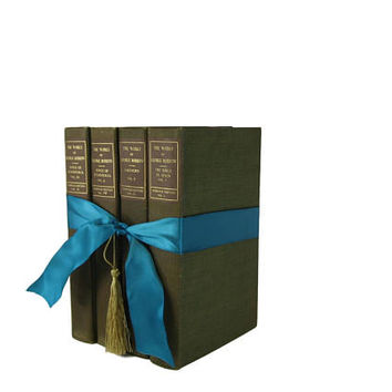 Green Brown  Book Gift Set, Decorative Books ,  Gifts for Teachers, Gifts for the Home, Gifts Under 30, Hostess Gifts