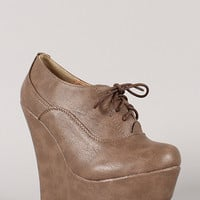 Sopia-2 Round Toe Lace Up Platform Wedge Bootie
