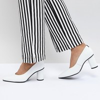 Selected Leather Court Shoe With Round Heel at asos.com