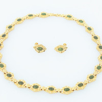 Vintage Gold and Jade Necklace and Earring Set