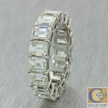 Solid Platinum 7.21ctw Emerald Cut Diamond 5mm Eternity Band Ring