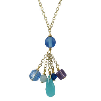 Blue Chalcedony Combination Lariat Style Necklace, Gold Plated Brass Chain