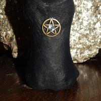 Genuine Horse Bone & Blue Topaz Altar Decoration - Pentagram Altar Stone - Wiccan Altar Decor - Pagan - Magick - Witchcraft - Free Shipping