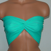 Mint Twisted bikini top, Bandeau, Swimsuit top, Spandex bandeau, Spandex swimsuit top, bandeau top, Active wear.