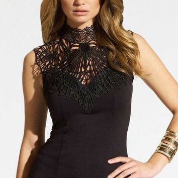 Under Your Spell Lace Tank Black