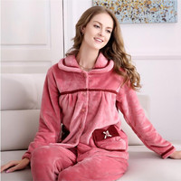 Coral fleece Pajamas suit women Thickening fabric Warm winter Pajamas bathrobe two suit Soft comfortable Long sleeved Pajamas