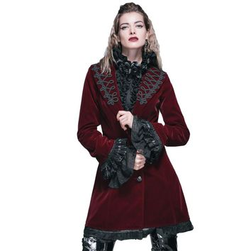 Women's Red Wool Coat Steampunk Winter Single Breasted Clothing With Lace Side 2017 Turn Down Collar Long Jackets Coats