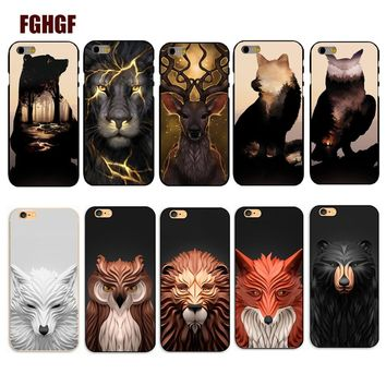 Hot Sale Abstract animal avatar lion / wolf / black bear / deer Phone Hard Cover Cases For iphone 5s 6 6S Plus 7 7plus 8 8plus x