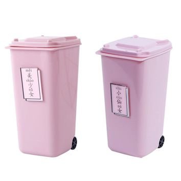 Pink Trash Can Shape Desktop Storage Box With Lid Desk Plastic Storage Box Makeup Organizer For Cosmetic Pen Jewelry S3