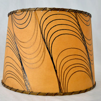 Fiberglass Lamp Shade with Gold & Black Swirls - Vintage 1950s Mid Century