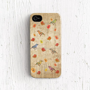 Birds iPhone 5 case, Birds iPhone 4 case flower iphone 5 case wood iPhone 4s case Birds iPhone 5c case cute iPhone 5s case floral cover c16