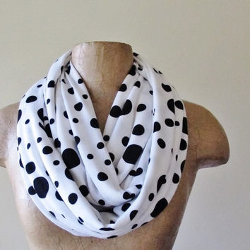 Polkadot Infinity Scarf - Handmade Polka dot Circle Scarf - Medium Weight Jersey Loop Scarf