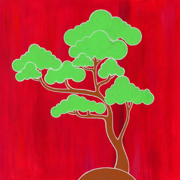 Bonsai tree, Japanese, Illustration, Green, Red, Oriental art, Hippie, Colorful, Positive, Gift, Affordable, Kitsch, Bright