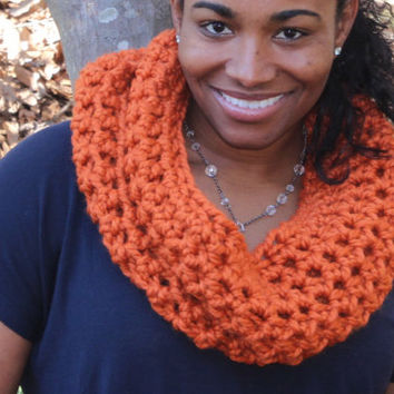 Classic Chunky Wool Blend Cowl - Pumpkin Orange
