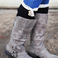 Hint Of Lace Boot Cuffs {Black}