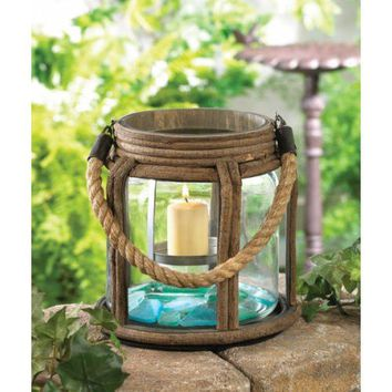 Old World Camping Candle Lantern And Rope Handle