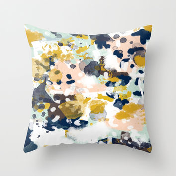Sloane - Abstract painting in modern fresh colors navy, mint, blush, cream, white, and gold Throw Pillow by CharlotteWinter