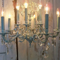Vintage brass chandelier hand painted pale blue and white distressed shabby cottage embellished with crystals lighting decor Anita Spero