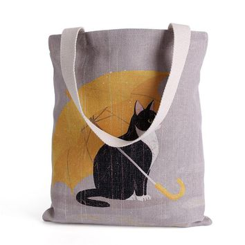 Beach bags Cute Cat Carry-All cotton Tote Laptop Duty