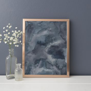 Blue Watercolor Ethereal Moody Original Painting Art Print
