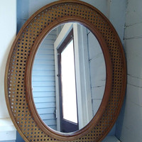Mirror, Large, Oval, Wall Mirror, Framed Mirror, Faux Wicker, Vintage, Brown, Home Decor, RhymeswithDaughter