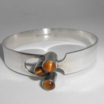 Kalevala Koru KK Finland Sterling Modernist Hook Bracelet Tiger's Eye Finish Scandinavian Designer Jewelry 1976