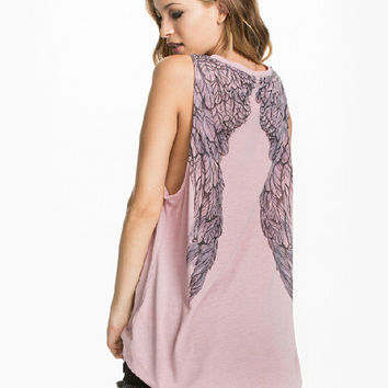 Wind Wing Print Back Chiffon Sando Shirt