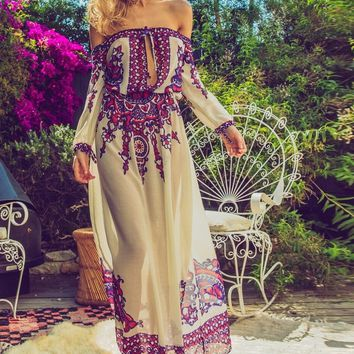 Soah Ophelia Off The Shoulder Maxi Dress - Red Tribal
