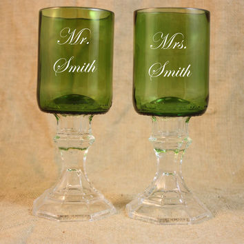 Wine Goblets, Set of 2 Green Wedding Goblets, Wedding Toast, Personalized Wedding Goblets, Upcycled Wine Bottle Goblets, Sand Etched Image