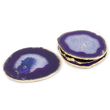 PURPLE AND GOLD AGATE COASTERS