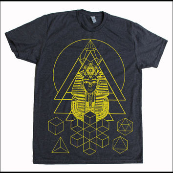 Men's Pharaoh's Dream Sacred Geometry Egyptian Metatron Screen Printed Shirt Grey