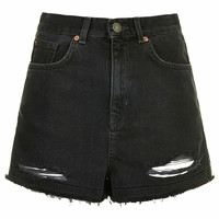 MOTO Black Ripped Mom Shorts - Black