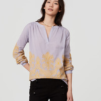 Leafed Split Neck Blouse | LOFT