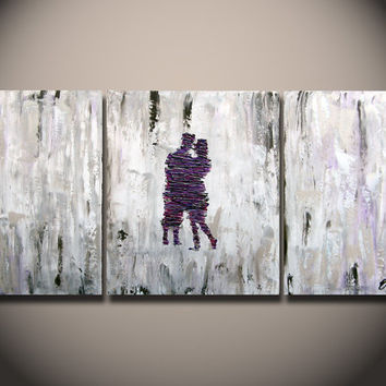 ABSTRACT Painting - Acrylic Paintings on canvas Purple Couple 54 Inch HUGE Modern Original Wall Art By Orit Baron