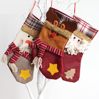 Christmas Fabric Stocking Sock Gifts Bags Tree Decoration Deer,Santa,Snowman Pattern Christmas (Size: 18CM,30CM) [9431838596]