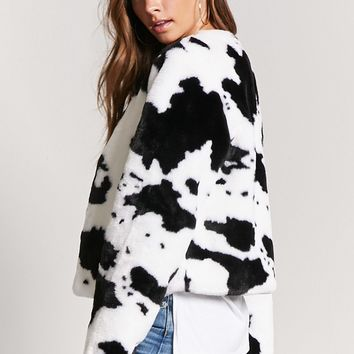 Cow Print Faux Fur Jacket