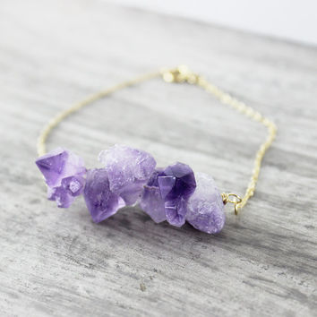 Raw Amethyst Bracelet, Amethyst Gemstone Bracelet, Purple Amethyst Bracelet, Gold Fill Bracelet, Purple Gemstone Bracelet, Raw Gemstone